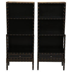 Pair of Regency Style Black and Gilt Waterfall Bookcases