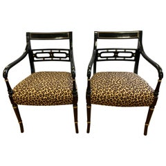 Pair of Regency Style Black Ebonized and Gold Armchairs, New Upholstery