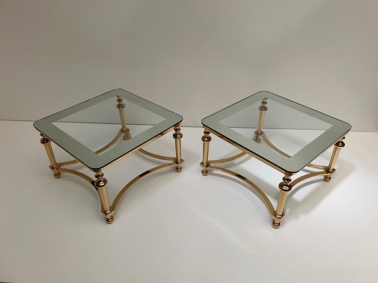 Hollywood Regency Pair of Regency Style Blass and Brass Side Tables For Sale