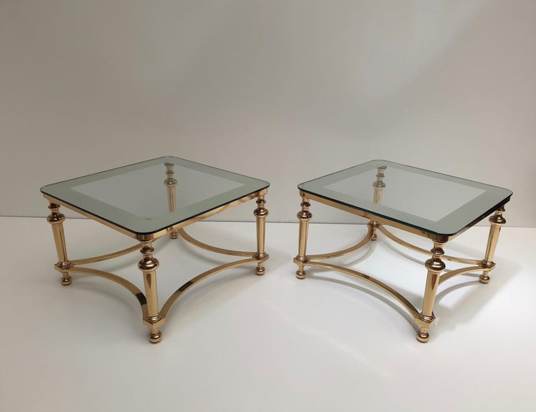 Gilt Pair of Regency Style Blass and Brass Side Tables For Sale