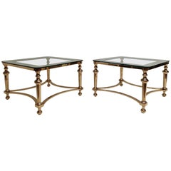 Pair of Regency Style Blass and Brass Side Tables
