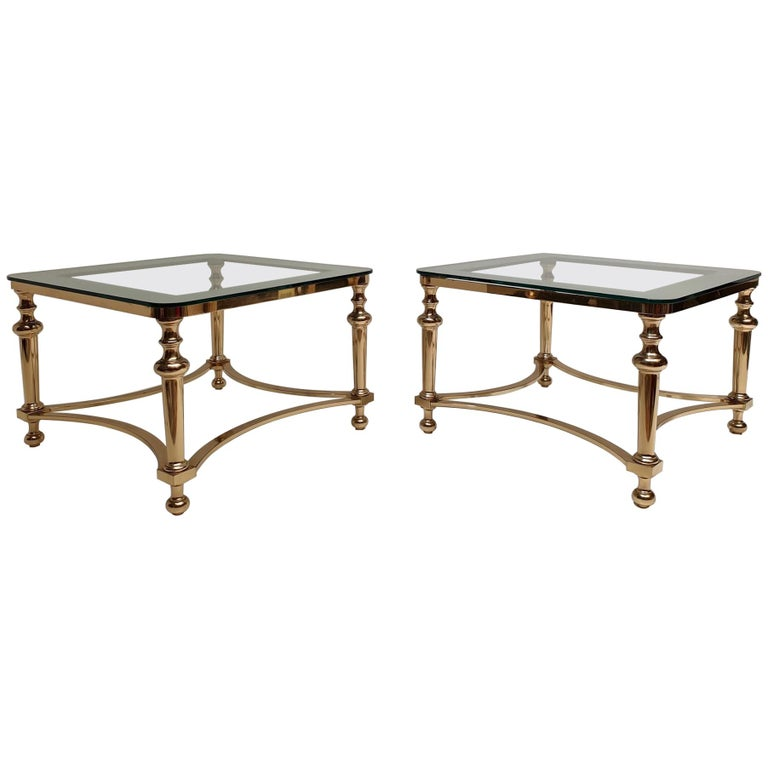 Pair of Regency Style Blass and Brass Side Tables For Sale