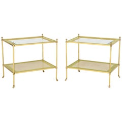 Pair of Regency Style Brass Side Tables