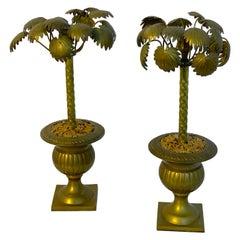 Pair of Regency Style Bronze Palmette Urn Candlesticks