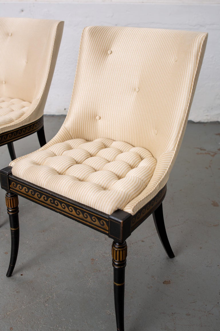 Pair of Regency Style Button-Tufted Side Chairs For Sale 4