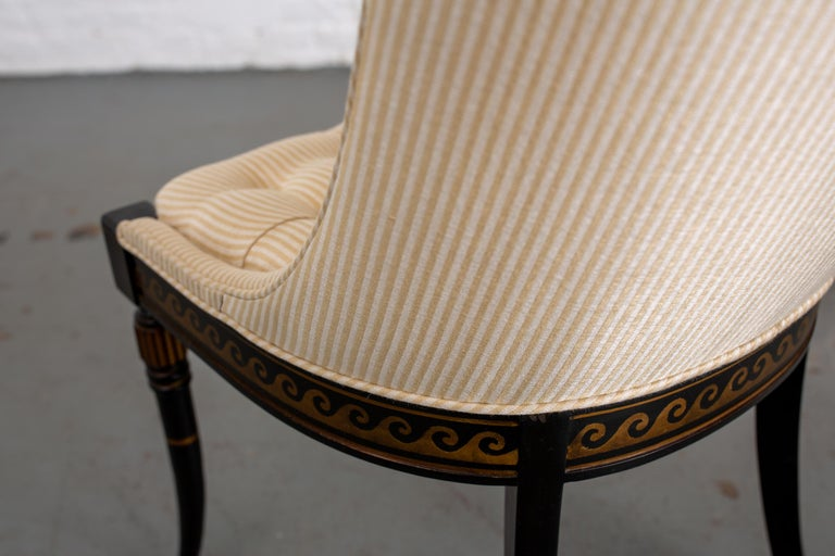 Pair of Regency Style Button-Tufted Side Chairs For Sale 7