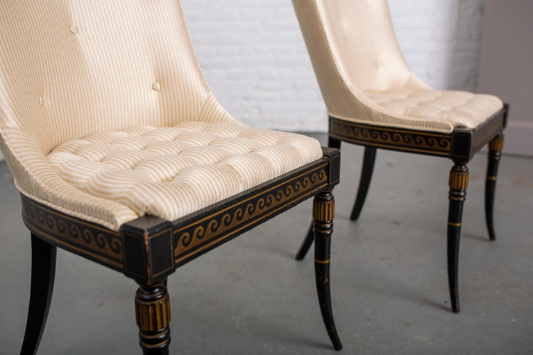 Pair of Regency Style Button-Tufted Side Chairs For Sale 1