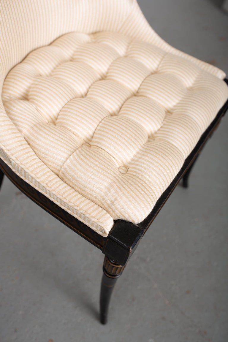 Pair of Regency Style Button-Tufted Side Chairs For Sale 3