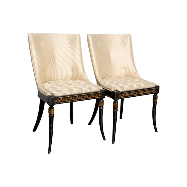 Pair of Regency Style Button-Tufted Side Chairs For Sale