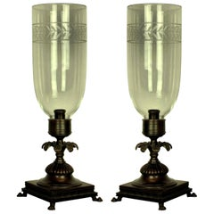 Pair of Regency Style Candlesticks with Storm Lights