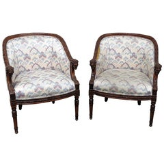 Pair of Carved Walnut French Regency Style Rams Head Club Parlor Chairs
