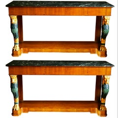 Pair of Regency Style Console Marble Top Tables with Gilt Lion Monopedia