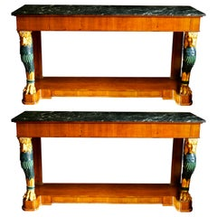 Pair of Regency Style Console Marble Top Tables with Gilt Lion Monopodia