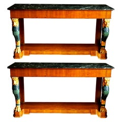 Pair of Regency Style Console Marble-Top Tables with Gilt Lion Monopodia