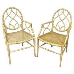 Pair of Regency Style 'Cracked Ice' Painted Arm Chairs