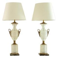 Pair of Regency Style Crystal Lamps, 1960s