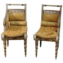 Pair of Diminutive Petite French Maison Jansen Style Louis XVI Recamier Chairs