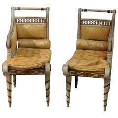 Pair of Diminutive Petite French Maison Jansen Style Louis XVI Recamier Chairs