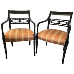 Pair of Regency Style Ebonized Armchairs Chairs