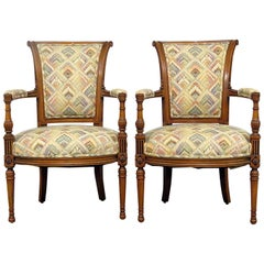 Pair of French Regency Style Fauteuils Armchairs
