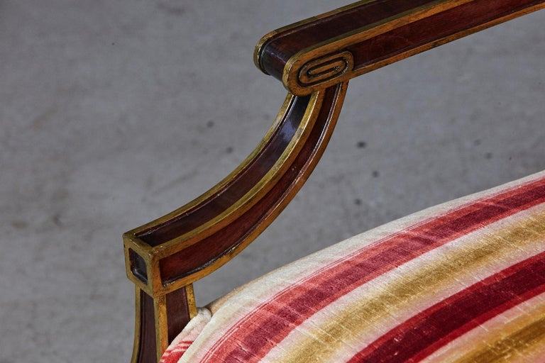 Pair of Regency Style Fauteuils with Gild Elements and Striped Velvet Upholstery For Sale 6