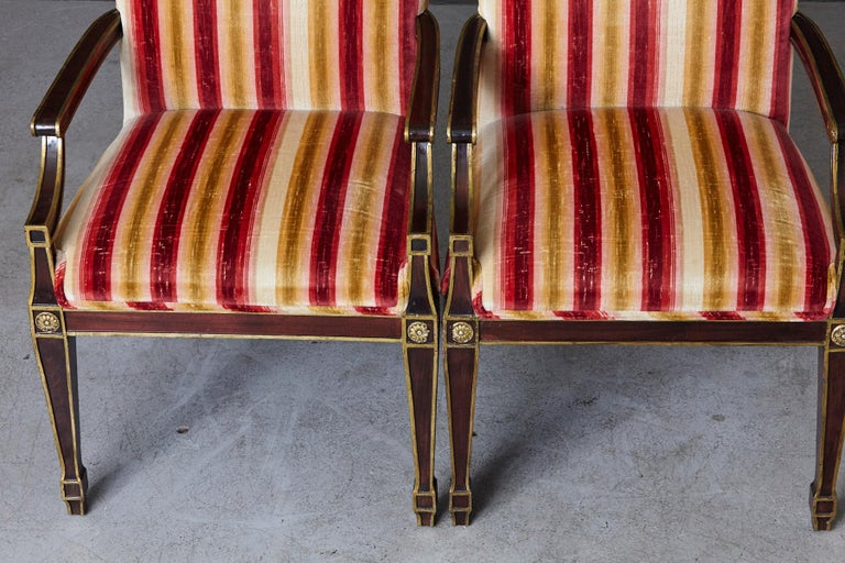 Pair of Regency Style Fauteuils with Gild Elements and Striped Velvet Upholstery For Sale 8