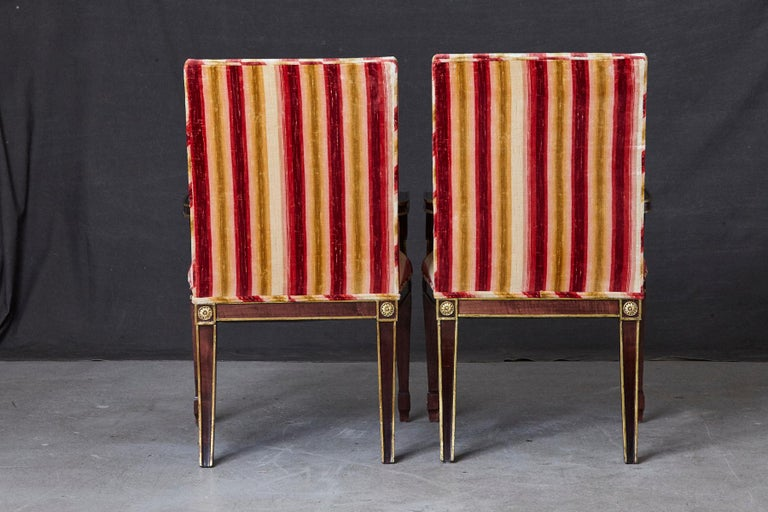 Pair of Regency Style Fauteuils with Gild Elements and Striped Velvet Upholstery In Good Condition For Sale In Weston, CT