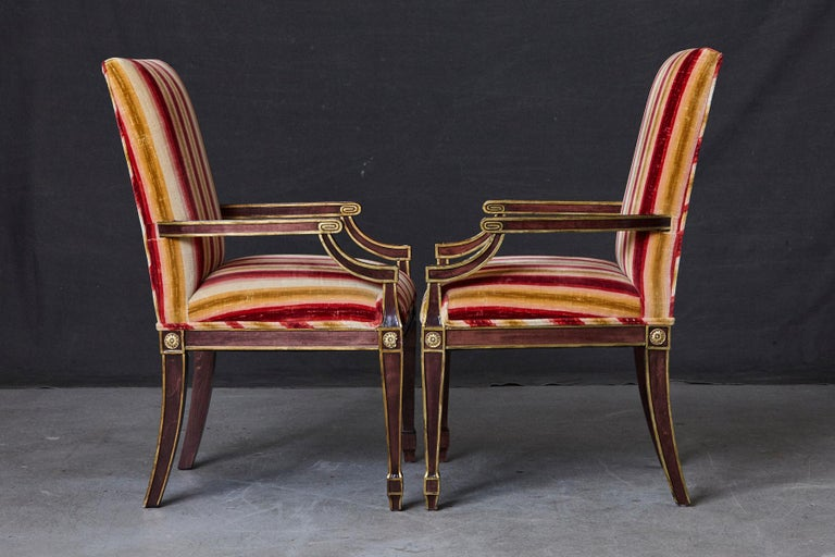 Late 20th Century Pair of Regency Style Fauteuils with Gild Elements and Striped Velvet Upholstery For Sale