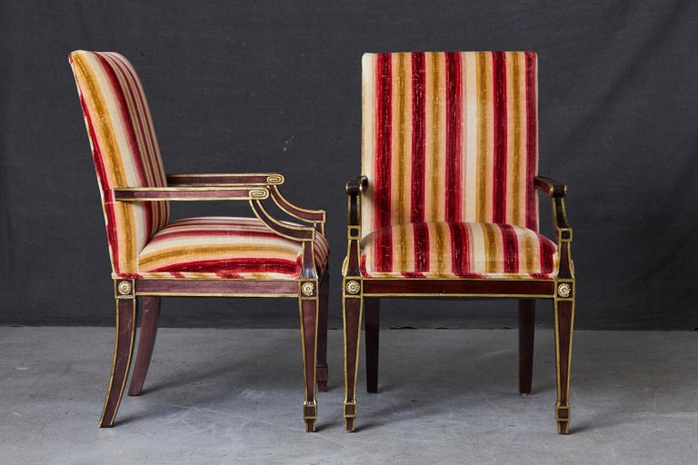 Pair of Regency Style Fauteuils with Gild Elements and Striped Velvet Upholstery For Sale 1