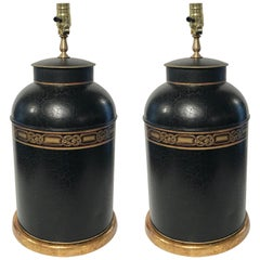 Pair of Regency Style Gilt Decorated Tole Tea Canisters, Now as Lamps