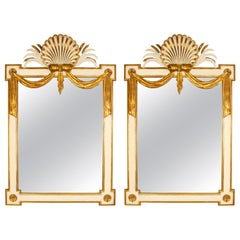 Pair of Regency Style Giltwood and Painted Wood Mirrors