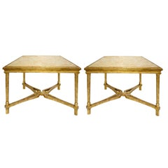 Pair of Regency Style Giltwood Designer Marbella Side Tables by Randy Esada