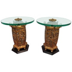 Pair of Regency Style Glass Top End Tables