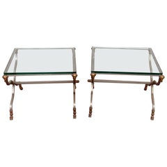Pair of Maison Jansen Style Rams Head Brass and Steel Glass Top End Tables