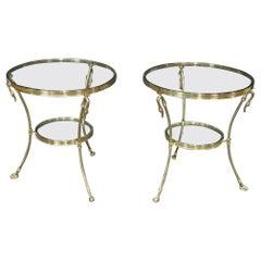 Pair of Regency Style Glass Top Gueridons