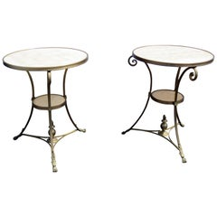 Pair of Alabaster Marble Top French Bronze Regency Style Gueridons Side Tables