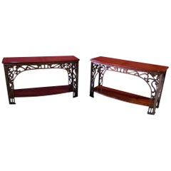 Pair Wrought Iron and Walnut French Art Nouveau Style Console Sofa Tables
