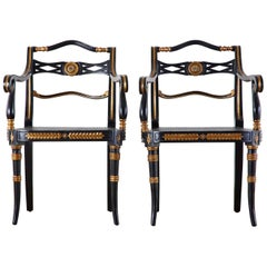 Pair of Regency Style Lacquered Armchairs by Theodore Alexander