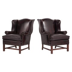 Pair of Regency Style Leather Wingback Armchairs, circa 1970s