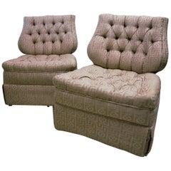 Pair of Regency Style Lyre Back Dorothy Draper Era Tufted Slipper Chairs