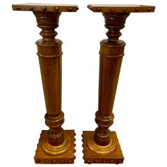Pair of Regency Style Mahogany Column Pedestals Square Top Carved Accents