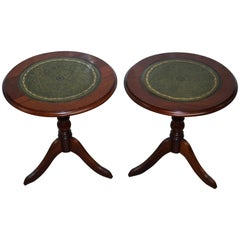 Pair of Regency Style Mahogany & Green Leather Topped Lamp Wine Side End Tables