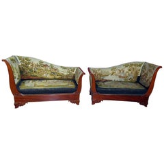 Pair English Regency Scenic Needlepoint Recamiers Daybeds Chaises C1850