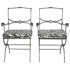 Pair of Regency Style Painted Iron Armchairs and Zebra Pattern Cushions, 20th C