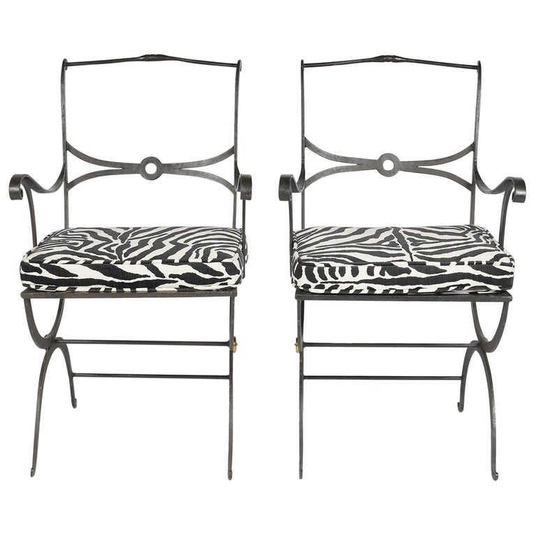 Pair of Regency Style Painted Iron Armchairs and Zebra Pattern Cushions, 20th C For Sale