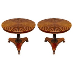 Pair of Regency-Style Parquetry Small Centre Tables