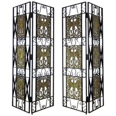 Pair of High Art Deco Wrought Iron and Bronze Stork Room Divider Panels C1920