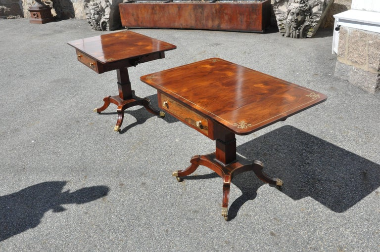 Inlay Pair of Regency Style Rosewood and Brass Inlaid End or Sofa Tables For Sale