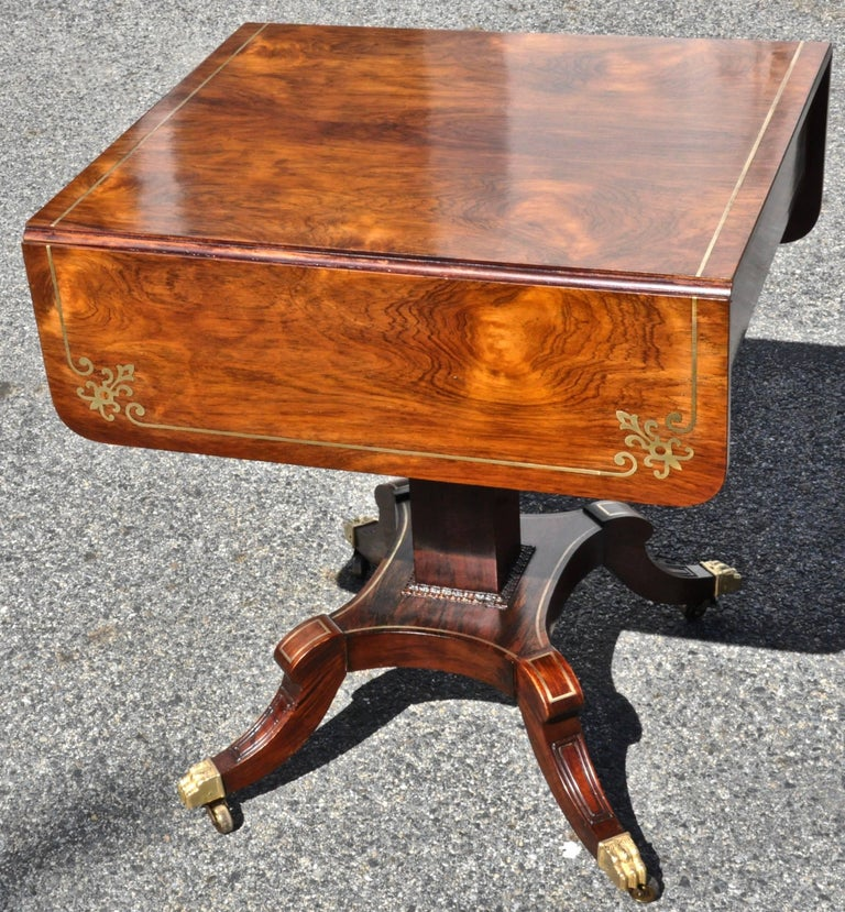 Pair of Regency Style Rosewood and Brass Inlaid End or Sofa Tables In Excellent Condition For Sale In Essex, MA