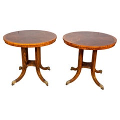 Pair of Regency Style Rosewood and Brass Inlaid Tables